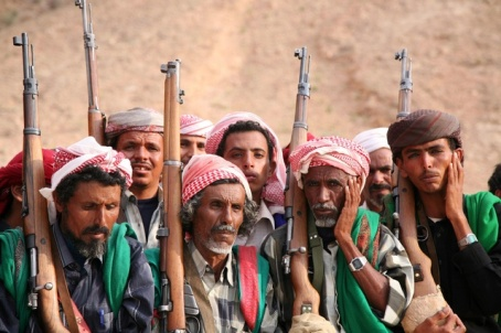 Yemenis belonging to the Bagefer tribe attend a wedding ceremony at Wadi Lesser in Hadramout
