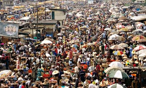 World population increase most in Africa: Crowded Oshodi Market in Lagos, Nigeria.
