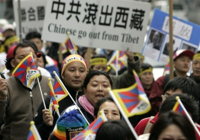 Activists shut slogans during a rally in Taipei March 14, 2009, against the Chinese rule in Tibet. The rally marks the 50th anniversary of a failed Tibetan uprising that sent the Dalai Lama into exile. REUTERS/Pichi Chuang (TAIWAN POLITICS RELIGION CONFLICT)